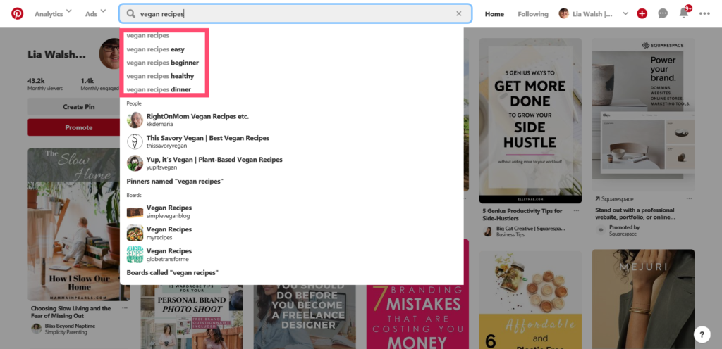 Free SEO keyword research tools - Pinterest autofill