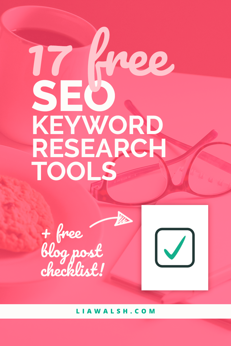 These 17 free SEO keyword research tools will help you choose search terms that will actually help you make money and stop leaving potential customers behind. Save this pin for later, as you'll want to consult this list often! Then click through for your free blog post SEO checklist to help with your content writing!